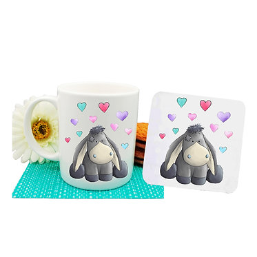 Ceramic mug and drink coaster set donkey with hearts image front view