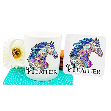 Personalised ceramic coffee mug and coaster set painted horse front view