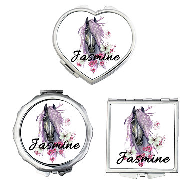 Set of three compact mirrors personalised purple horse image front view