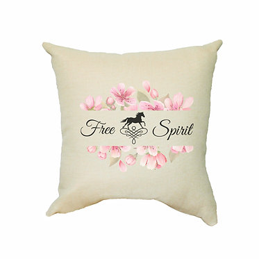 Tan cushion cover with horse and flowers with quote free spirit comes with zip front view