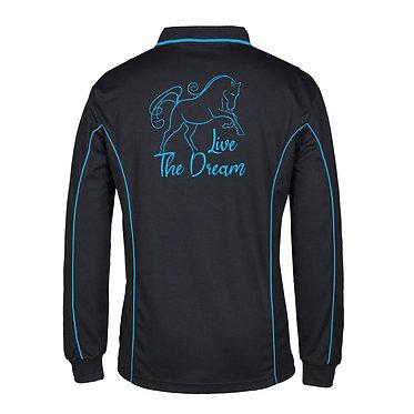 Adults long sleeve polo shirt black aqua live the dream horse image back view