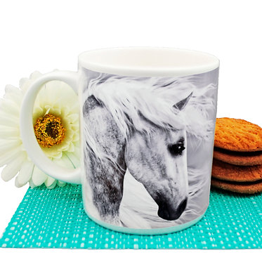 Black and white horse ceramic coffee mug front view