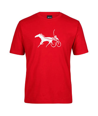Mens t-shirt horse harness racing red with white image front view