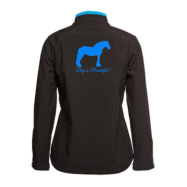 Ladies softshell jacket black with aqua big is beautiful heavy horse image back view