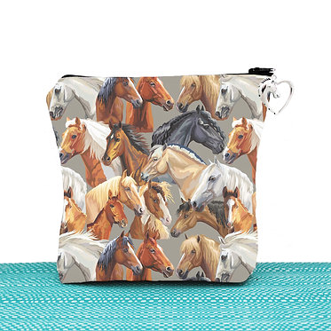 Cosmetic toiletry bag with zipper horse pattern image front view