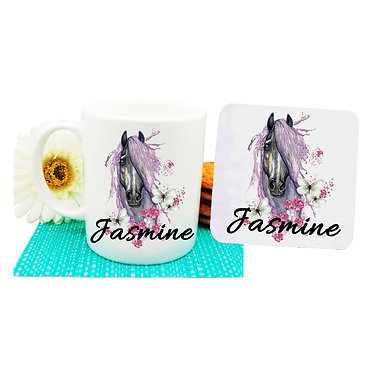 Personalised ceramic coffee mug and coaster set purple horse front view