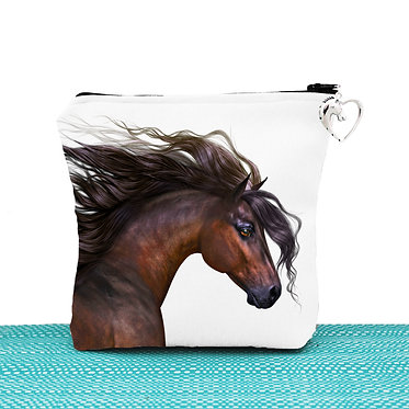 White cosmetic toiletry bag with zipper beautiful bay horse image front view