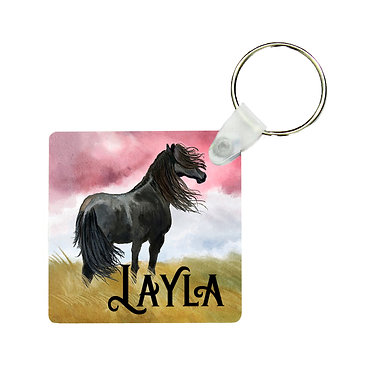 Personalised square MDF wood key-ring black horse image front view