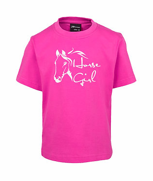 Hot pink kids cotton t-shirt horse girl image front view