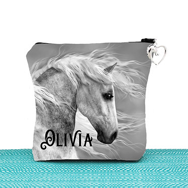 White cosmetic toiletry bag with zipper personalised black and white horse image front view