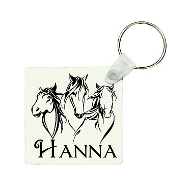 Square MDF wood key-ring three horses image front view