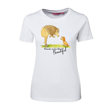 Ladies slim fit t-shirt white 100% cotton with horse and dog friendship image front view