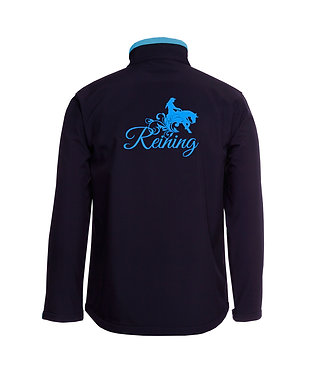 Navy with light blue accents and reining horse image ladies softshell jacket back view