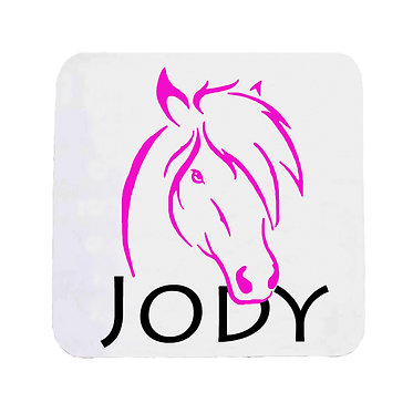 Personalised neoprene drink coaster horse hot pink image front view