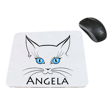 Personalized computer mouse pad with cat face