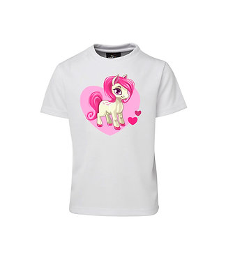 Kids white t-shirt with pink hearts pony front view