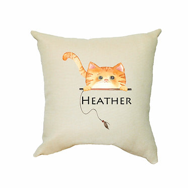 Personalized tan cushion cover with zip 40cm x 40cm with name and ginger cat image front view