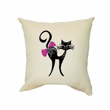 Tan cushion cover with zip 40cm x 40cm cat with bow image front view