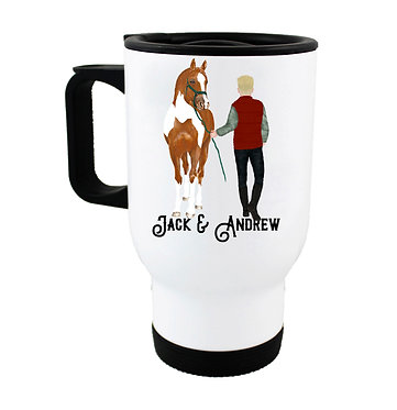 Personalised travel mug stainless steel blond haired man and horse image front view