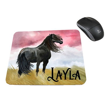 Neoprene computer mouse pad personalised black horse image front view