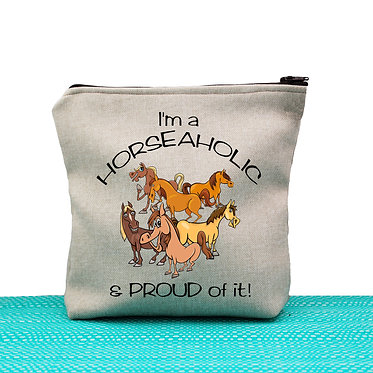 Tan cosmetic toiletry bag with zipper I'm a horse-aholic and proud of it image front view