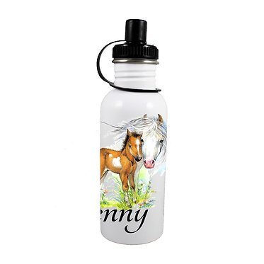 Personalised stainless steel water bottle mare and foal horse image front view