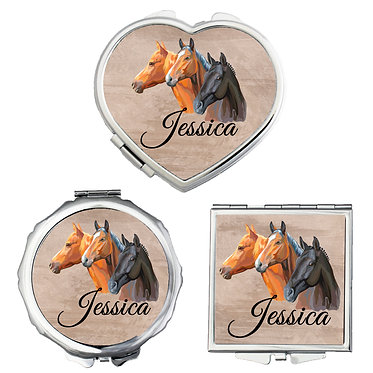 Set of three compact mirrors personalised with three horses image front view