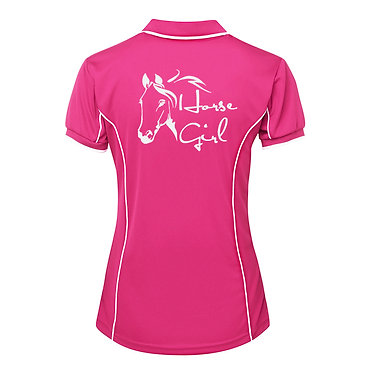 Ladies horse pipping polo shirt hot pink white horse girl image back view