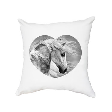 White cushion cover with zip beautiful white horse image front view