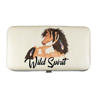 Ladies hard case purse wallet with mobile phone mount inside wild spirit paint horse image view