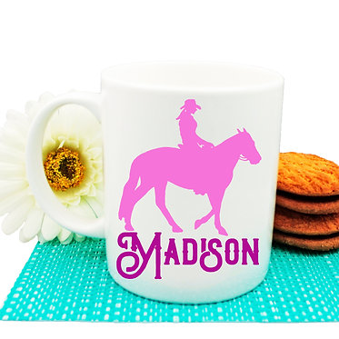 Personalised ceramic coffee mug western horse rider hot pink image front view