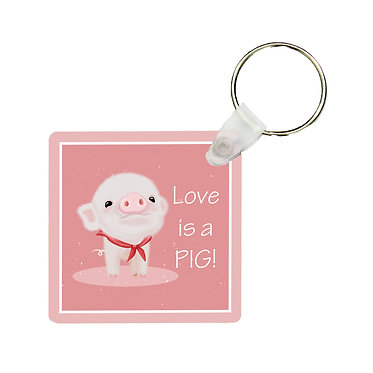 Square mdf wood key ring with cute pig and text i love pigs! front view