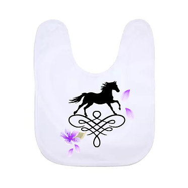 Babies bib white with horse on scroll and purple petals image front view