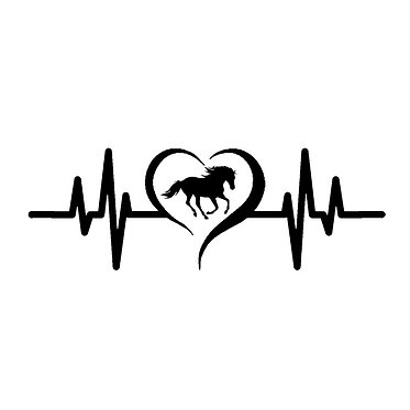 Horse cantering in heart heartbeat vinyl decal sticker in black front view