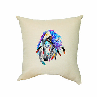 Tan cushion cover with spirit horse image front view