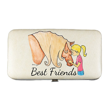 Ladies hard case purse wallet with mobile phone mount inside best friends girl and horse image view