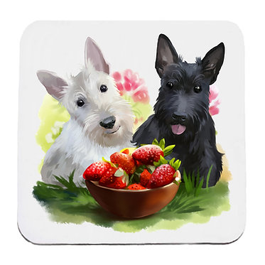 Dog themed neoprene coaster sets with two scottie dogs image front view