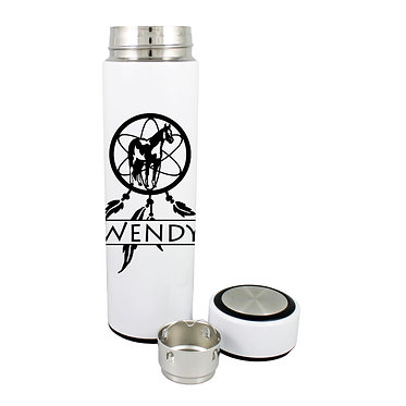 Personalised thermos flask drink travel bottle stainless steel paint horse dream catcher image front lid off view