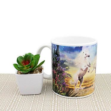 Unicorns in water image ceramic coffee mug front view