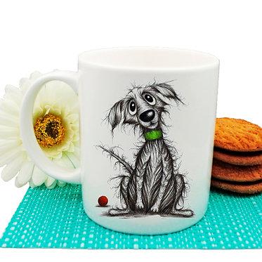 Dog themed coffee mug with beautiful scruffy dog image front view