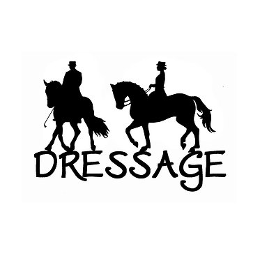 Dressage horse decal sticker front view in black