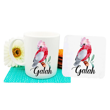 Ceramic coffee mug and drink coaster set Australian Galah parrot image front view