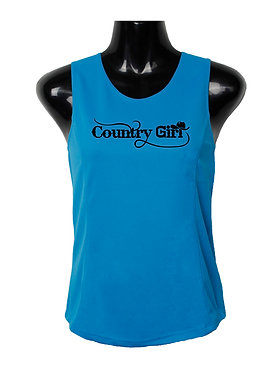 Country Girl Singlet Aqua Black Image Front View