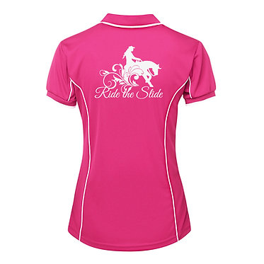 Ladies horse pipping polo shirt hot pink white reining horse ride the slide image back view