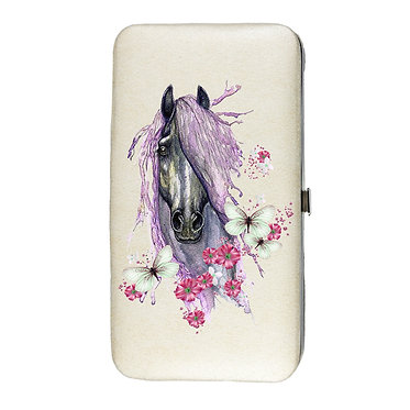 Ladies hard case purse wallet with mobile phone mount inside purple horse with butterflies image view