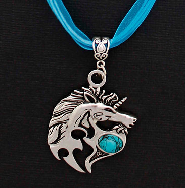 Blue Unicorn Ribbon Necklace Front Closeup View