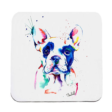 Dog themed neoprene coaster sets with rainbow watercolor dog image front view