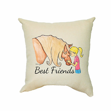 Tan cushion cover with zip dream best friends girl and horse image front view