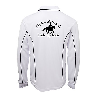 Adults long sleeve polo shirt white navy when all else fails I ride my horse image back view