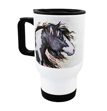 Travel mug stainless steel with black and white paint horse image front view
